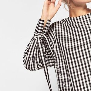 Zara Black White Gingham Tie Sleeve Cropped Top
